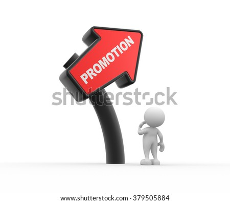3d people - man, person  and directional sign - promotion