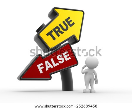 3d people - man, person and directional sign.True or false - stock photo