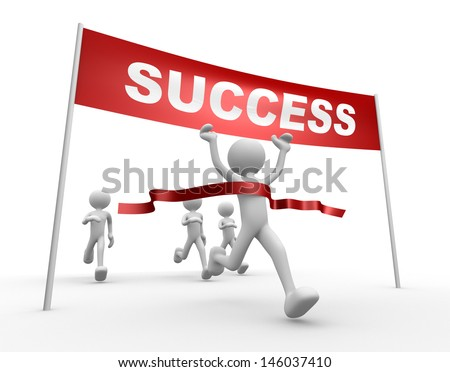 3d people - man, person and finish line. Success. - stock photo
