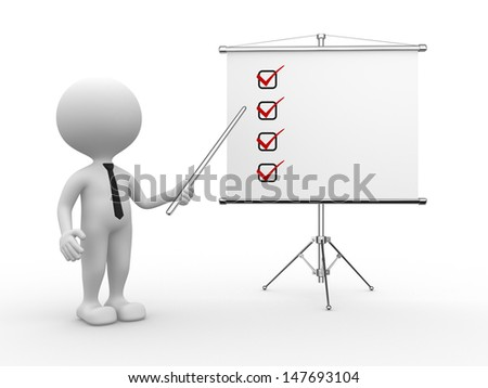 3d people - man, person and flip chart. Checklist - stock photo