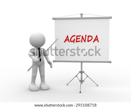 3d people - man, person and flipchart. Agenda - stock photo