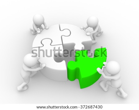 3d people - man, person and  last piece  of jigsaw ( puzzle )  - stock photo