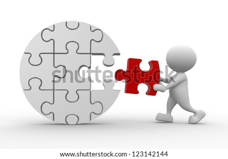 3d people - man, person and last piece of puzzle. - stock photo