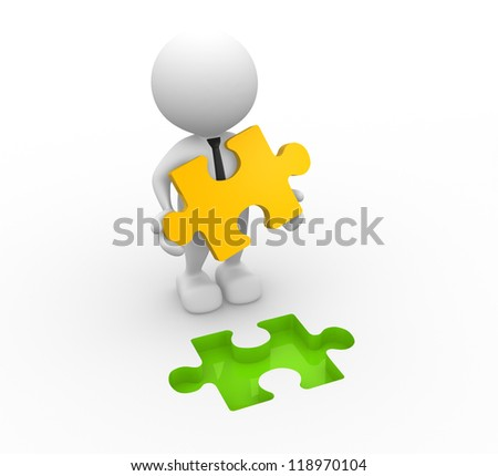 3d people - man, person and last piece of puzzle ( jigsaw).