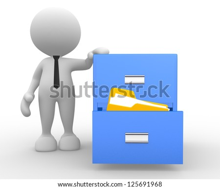 3d people - man, person and open drawer with folders. - stock photo