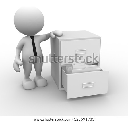 3d people - man, person and open drawer with white folders.