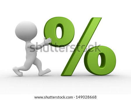 3d people - man, person and percent sing - stock photo