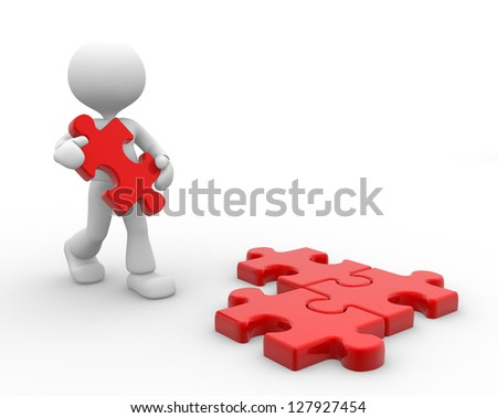 3d people - man, person and piece of jigsaw - stock photo