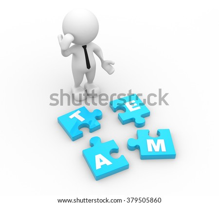 3d people - man, person and pieces of puzzle. Team concept