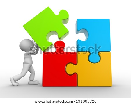 3d people - man, person and puzzle pieces ( jigsaw ). - stock photo