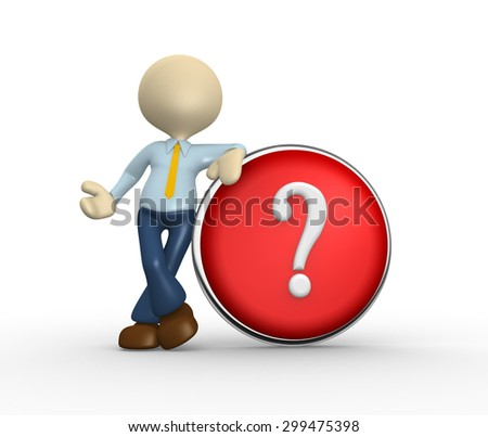 3d people - man, person and question mark - stock photo