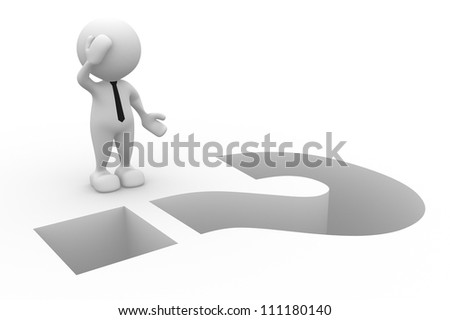 3d people - man, person and question mark as a hole. Businessman