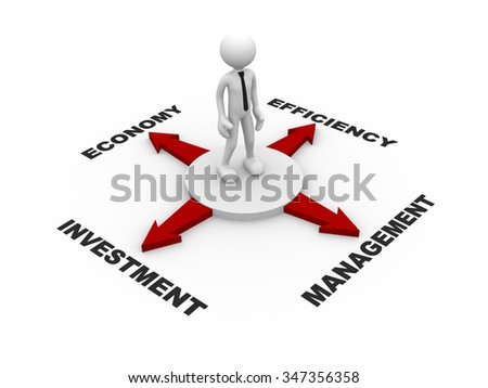 3d people - man, person and red arrow . Confusion - Economy, efficiency, management, investment - stock photo