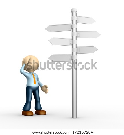 3d people - man, person and road sign. Confused - stock photo