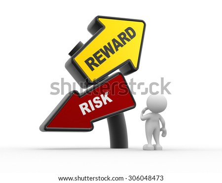 3d people - man, person and road sign with risk reward words
