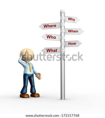 3d people - man, person and road sign with various questions ( where, who, why, when, how, what )  - stock photo