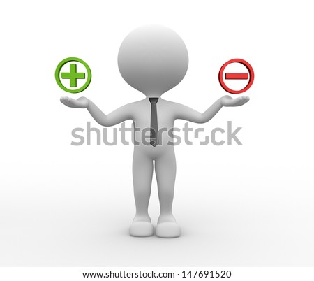 3d people - man, person and sign plus or minus - stock photo