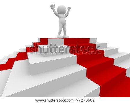 3d people - man, person and stairs with a red carpet . Winner. - stock photo