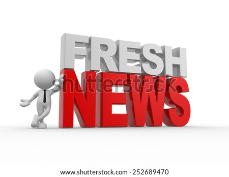 """3d people - man, person and text """" fresh news"""" - stock photo"""