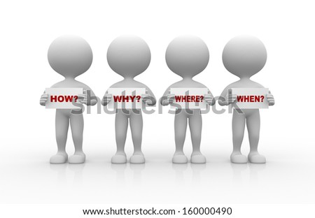 3d people - man, person and various questions ( where?,  why?, when?, how?)  - stock photo