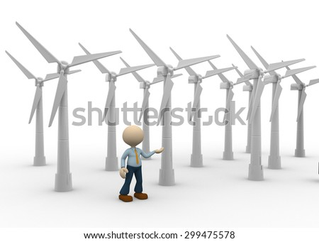 3d people - man, person and wind turbines. Concept of ecology. Wind energy. - stock photo