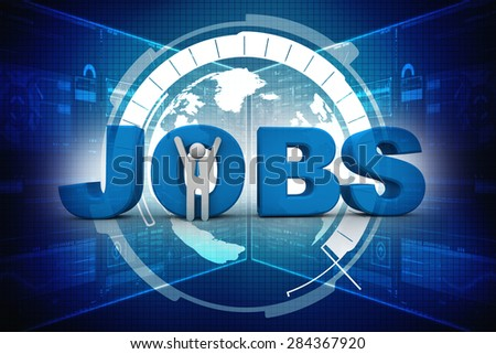 3d people - man, person and word JOBS. Jobs concept - stock photo