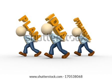 3d people - man, person and words - plan, idea, strategy - stock photo