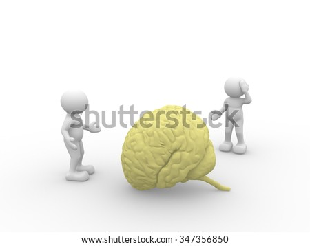 3d people - man, person  and yellow brain. - stock photo