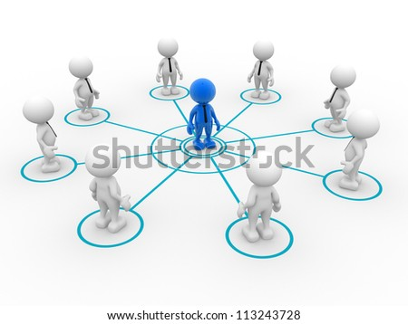 3d people - man, person arranged in a circle. Leadership and team - stock photo