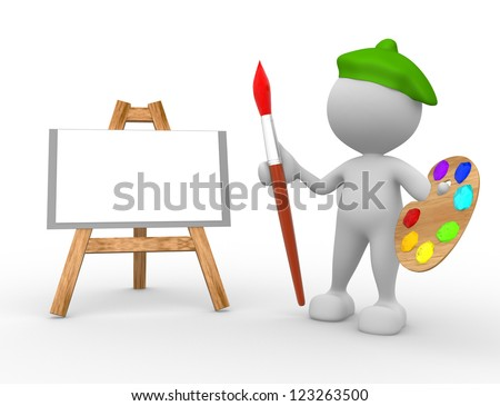 3d people - man, person artist painting on a canvas on an easel. - stock photo