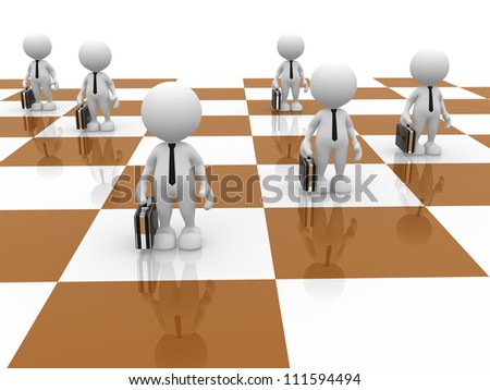 3d people - man, person as pawns on chess board. - stock photo
