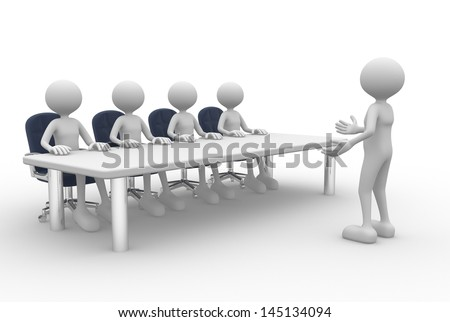 3d people - man, person at a conference table. Employee and employer in the meeting.