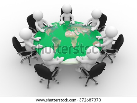 3d people - man, person at a conference table with world map.  - stock photo