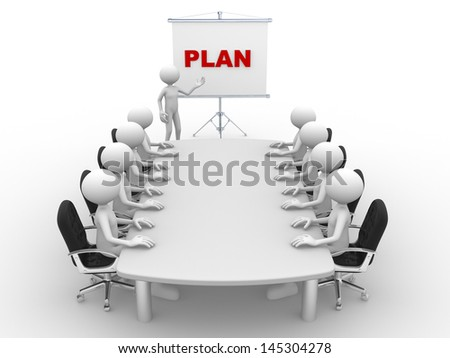 3d people - man, person at conference table and a flipchart. Plan - stock photo