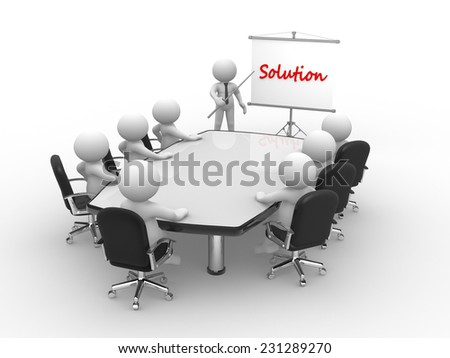 3d people - man, person at conference table and a flipchart. Solution - stock photo