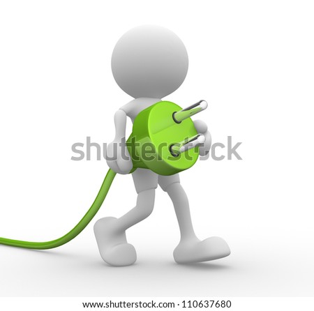 3d people - man, person carrying in his hand an electric plug. - stock photo