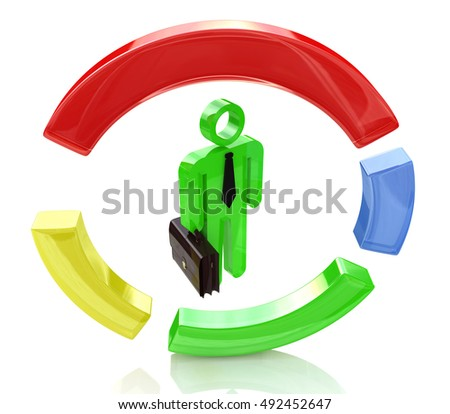 3d people - man, person, character, and a pie chart in the design of information related to business. 3d illustration