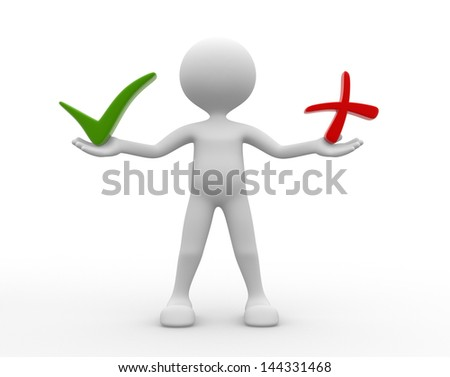 "3d people - man , person choosing between ""yes""or ""no"". Check mark. - stock photo"