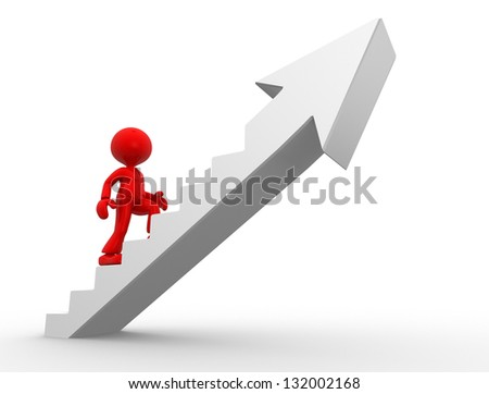 3d people - man, person climbing stairs and an arrow . To Success. Businessman