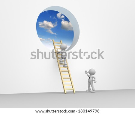 3d people - man, person climbing the ladder to sky - stock photo