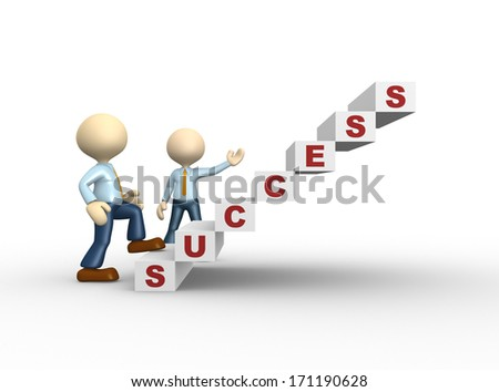 3d people - man, person climbs the ladder of success - stock photo