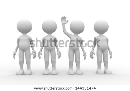 3d people - man, person different in group