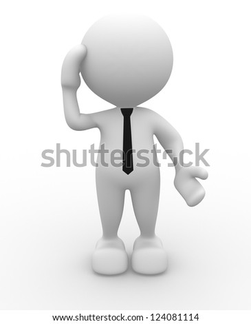 3d people - man, person doubt remember. - stock photo