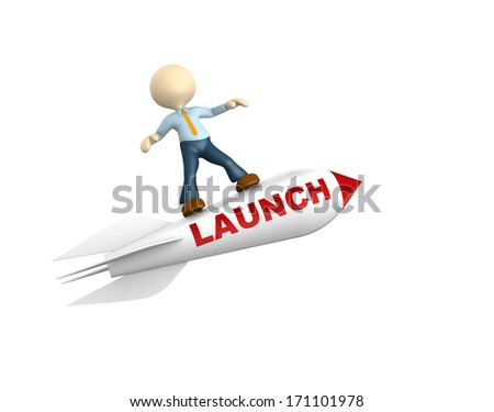 """3d people - man, person flying  on a rocket with text """"launch"""" - stock photo"""