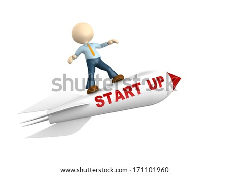 """3d people - man, person flying  on a rocket with text """" start up"""" - stock photo"""