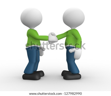 3d people - man, person friendly handshake.