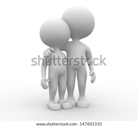3d people - man, person friends. - stock photo