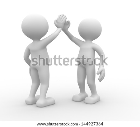 3d people - man, person. Give me five - stock photo