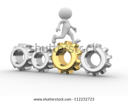 3d people - man, person  go on with gear mechanism. Businessman