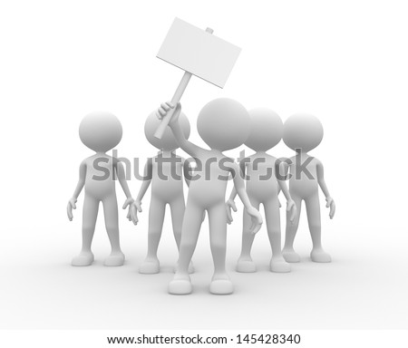 3d people - man, person - group leader with banner - protesting  - stock photo